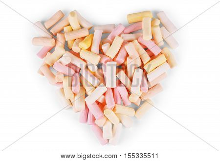 Heart shape marshmallow with onwhite background romance, party, food