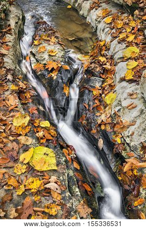 Whitewater courses through a channel eroded into a rocky stream bed decorated with colorful autumn leaves at Indiana's Fall Creek Gorge.