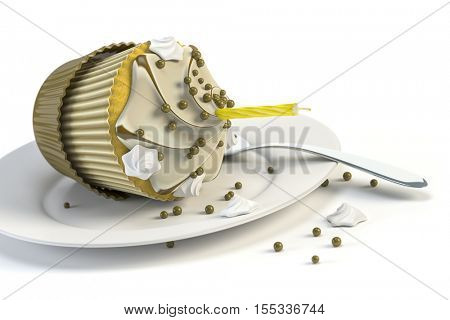 3d rendering of an overturned cupcake on a plate