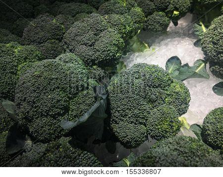 Fresh Broccoli Background.fresh Broccoli On Ice At The Market Store.dark Edges.selective Focus