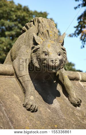 Cardiff, Wales, UK , September 14, 2016 :  Hyena Sculpture from the Animal Wall of Cardiff Castle in Castle Street which is one of the cities most popular visitor attractions