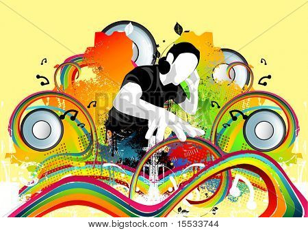 A DJ and many other musical elements make up this art work.