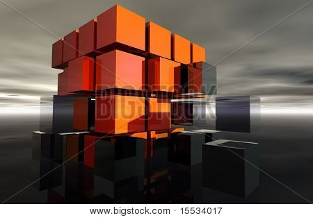 Orange and grey cubes making a larger cube.