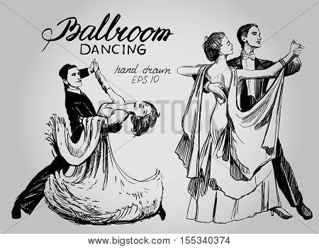 Ballroom dance. Couple dancing waltz. Hand drawn vector illustration. Isolated