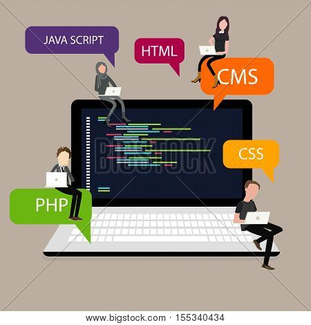 programming in laptop screen PHP HTML CSS vector
