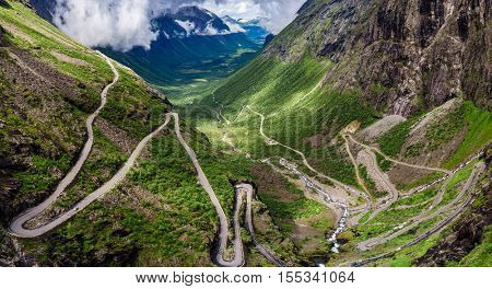 Troll's Path Trollstigen or Trollstigveien winding mountain road in Norway.