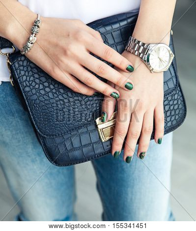 Modern Girl With Green Nail Polish And A Trendy Bag In Stylish Jeans. The Style Life, Trending
