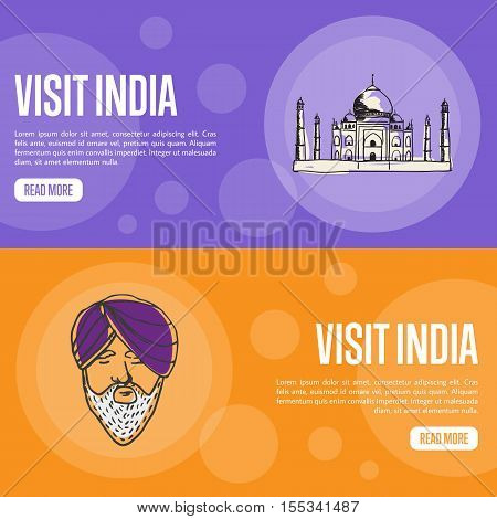 Visit India horizontal banners. Taj Mahal and sikh man in turban hand drawn vector illustrations. Web templates with country related doodle symbols. For travel company landing page design
