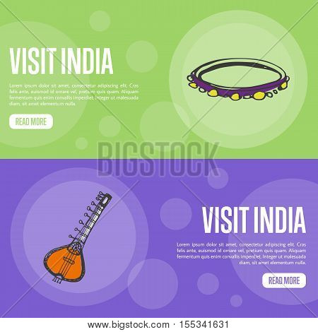 Visit India horizontal banners. Indian sitar and tambourine hand drawn vector illustrations. Web templates with country related doodle symbols. For travel company landing page design
