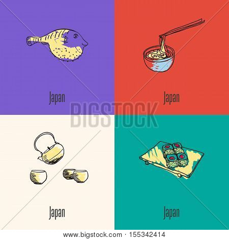 Japanese national symbols. Fugu fish, noodles with sticks, kettle with cups, sushi on plate hand drawn doodle vector icons collection with caption. Country concept for travel company ad, web design