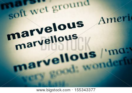 Close Up Of Old English Dictionary Page With Word Marvelous