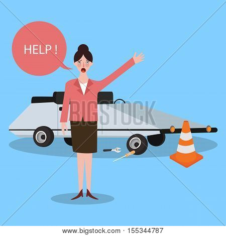 woman asking for help car trouble need someone vector