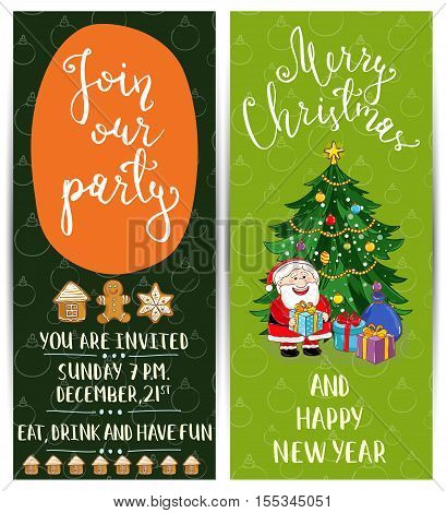 Cute Santa, gifts, decorated christmas tree, gingerbread. Merry Christmas and Happy New Year greetings. Template of christmas party invitation. Design for christmas party invintation. Christmas concept. Ad for christmas party. Merry Christmas