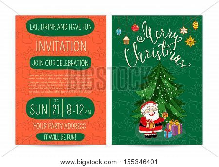 Cute Santa, wrapped gifts, christmas tree, toys. Merry Christmas and Happy New Year greetings. Template of christmas party invitation. Design for christmas party invintation. Christmas concept. Ad for christmas party. Merry Christmas