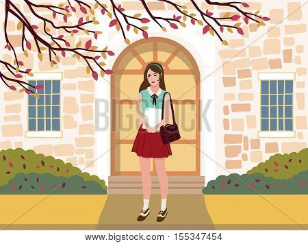 Girl student with document case in her hands on the background of the institution.