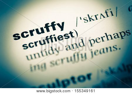 Close Up Of Old English Dictionary Page With Word Scruffy
