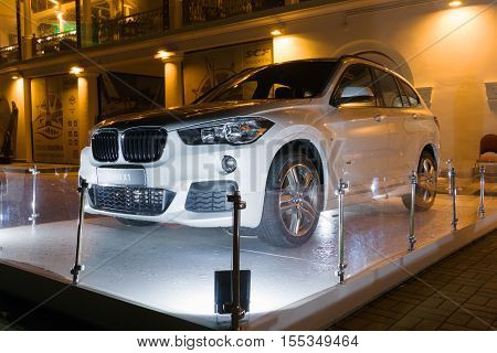 Sochi, Russia - October 12, 2016: Bmw x1 new car is exposed to advertising on the streets.