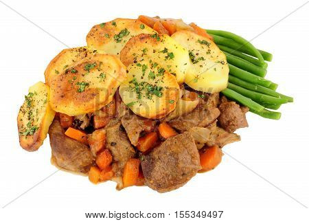 Portion of traditional English Lancashire hotpot isolated on a white background