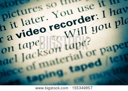Close Up Of Old English Dictionary Page With Word Video Recorder