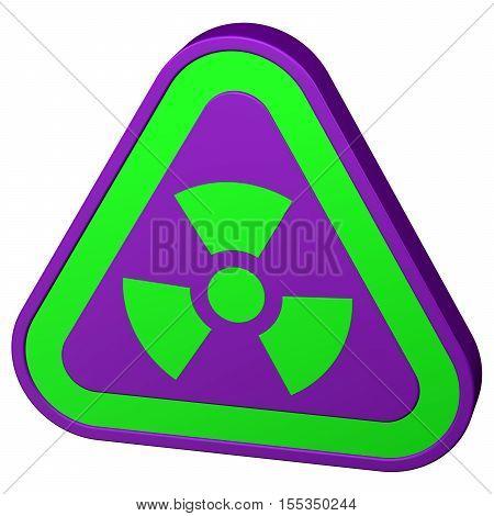 Radioactivity symbol isolated on white background. 3D rendering.