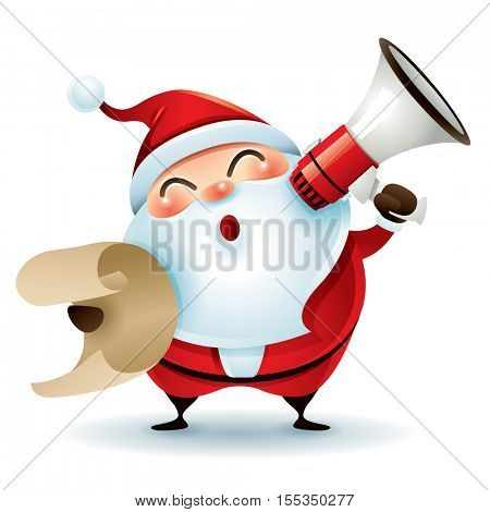 Santa Claus holding a list and megaphone