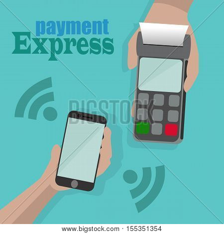 Vector Illustration of wireless payment by phone.One hand holds a payment terminal and another hand holds a mobile phone.