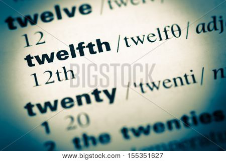Close Up Of Old English Dictionary Page With Word Twelfth