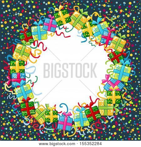 Christmas celebration border. Colorful holiday border with gifts boxws, paper streamers, confetti and free space for text. Vector illustration.
