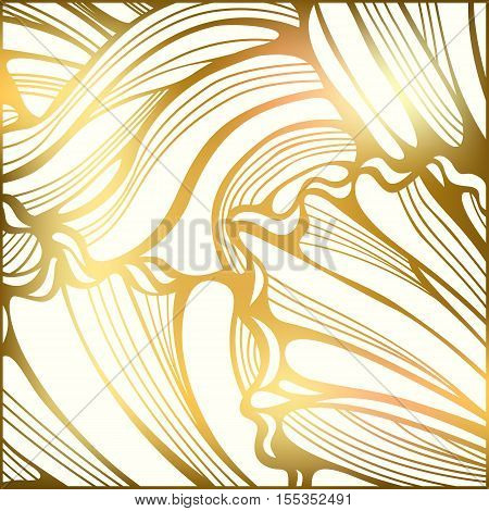 Fused gold abstract decorative background. Wavy striped pattern. Golden and white colors. Shining backdrop. Vector illustration.