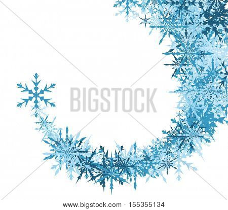 White winter background with swirl of blue snowflakes. Vector illustration.