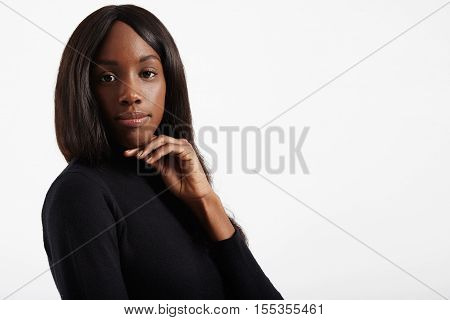 Black Woman With Straight Healthy Long Hair