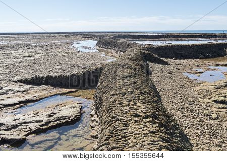 Punta Candor beach Rota Cadiz Spain. Fishing weir fish weir fishgarth or kiddle