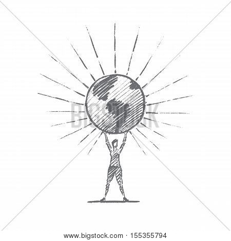 Vector hand drawn Planet Earth concept sketch. Woman standing and holding big shining globe on raised hands