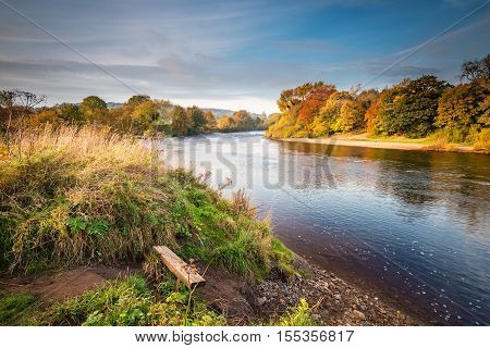 River Tyne formed from North and South Tynes, as they converge near Warden in Northumberland. Also known as The Meeting of the Waters seen here in autumn