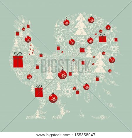 The design greeting cards for new year and Christmas. Stylized image of a rooster , composed of Christmas paraphernalia: snowflakes ,Christmas gifts, Christmas decorations, Christmas trees.