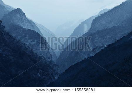 High Himalaya mountain sunrise landscape, captured in Nepal