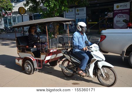 Man Drives On Tuk Tuk At Cambodia