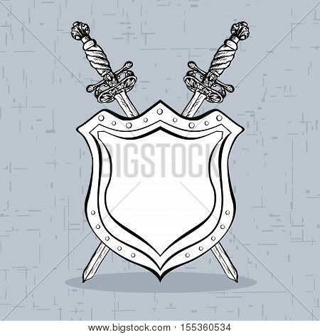 Two crossed ornate hand drawn swords and abstract shield vintage elements. Hipster style. Copy space. Vector illustration.