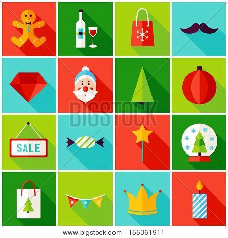 Merry Christmas Colorful Icons. Vector Illustration with Long Shadow. Winter Holiday. Collection of Rectangle Symbols.