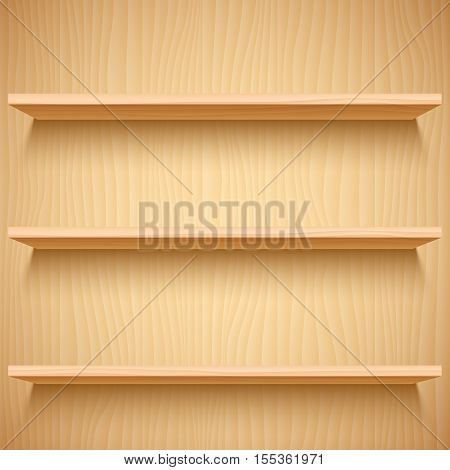 Three empty wooden shelves. Product presentation mock-up or template