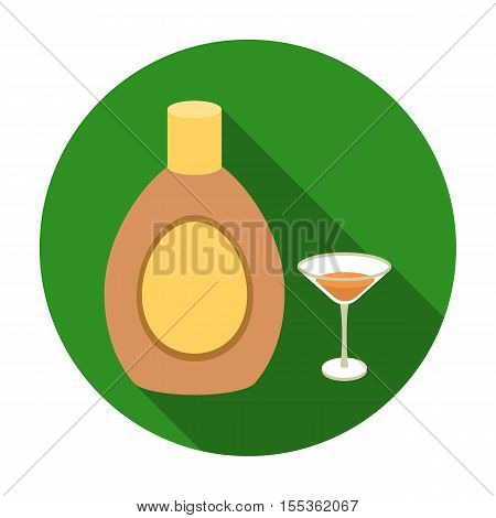 Chocolate liqueur icon in flat style isolated on white background. Alcohol symbol vector illustration.