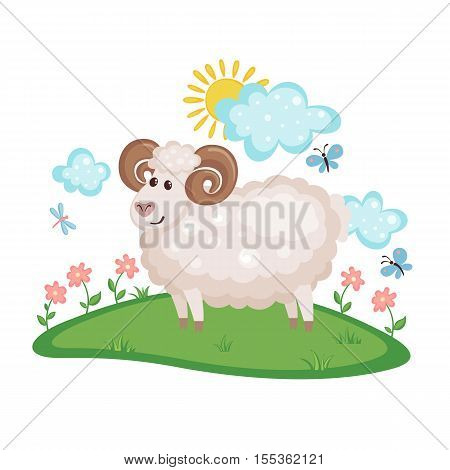 Cute Ram on a meadow with flowers and butterflies isolated on white background. Farm animal. Ram in cartoon style. Vector illustration.