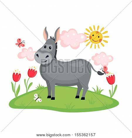 Cute Donkey on a meadow with flowers and butterflies isolated on white background. Farm animal. Donkey in cartoon style. Vector illustration.