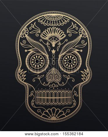 Sugar Skull day of the dead. Mexican style golden effect skull illustration.