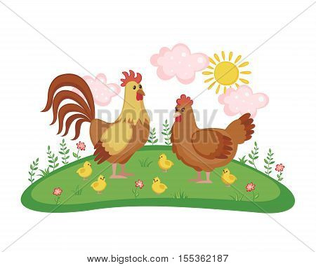 Cute chicken family with hen rooster and chicks on a meadow with flowers isolated on white background. Farm birds. Vector illustration