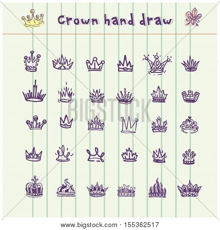 Hand drawn crowns collection. Ink sketch. Vector design elements
