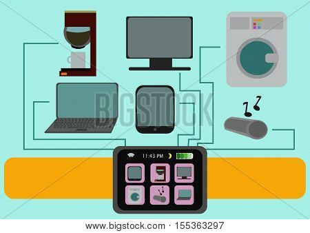 Smart watch ilustration with set of home and lifestyle items TV-set, laptop, coffee machine, tablet PC, audio system, washing machine