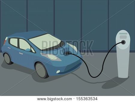The image of blue modern electrocar on charging