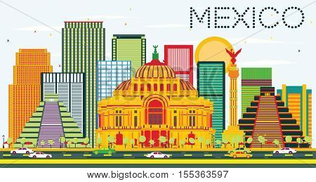 Mexico Skyline with Color Buildings and Blue Sky. Vector Illustration. Business Travel and Tourism Concept with Historic Buildings. Image for Presentation and Banner.