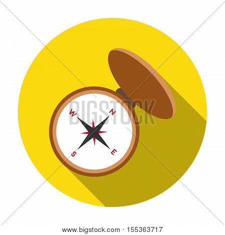 Compas icon in flat style isolated on white background. Hunting symbol vector illustration.